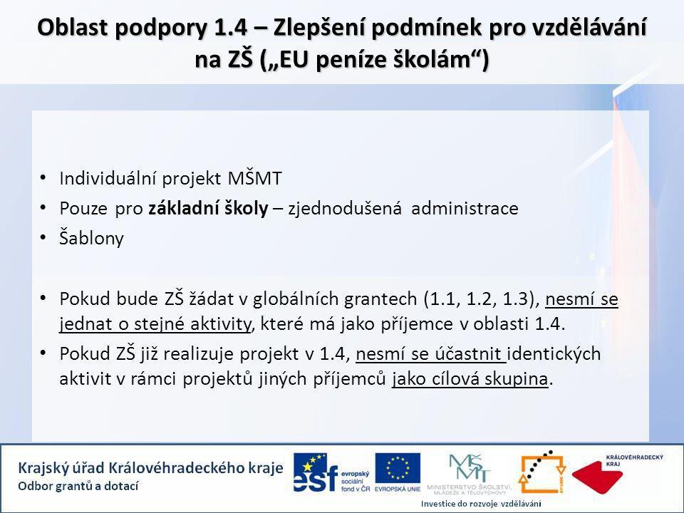 """Oblast podpory 1.4 – Zlepšení podmínek pro vzdělávání na ZŠ (""""EU peníze školám ) Individuální projekt MŠMT Pouze pro základní školy – zjednodušená administrace Šablony Pokud bude ZŠ žádat v globálních grantech (1.1, 1.2, 1.3), nesmí se jednat o stejné aktivity, které má jako příjemce v oblasti 1.4."""