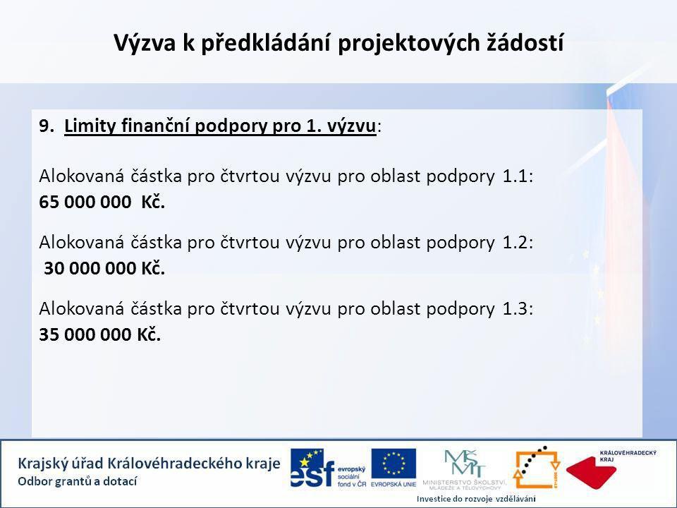 Výzva k předkládání projektových žádostí 9. Limity finanční podpory pro 1.
