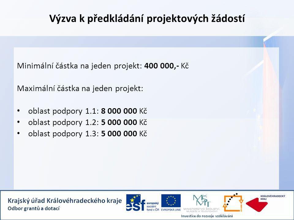 Výzva k předkládání projektových žádostí Minimální částka na jeden projekt: 400 000,- Kč Maximální částka na jeden projekt: oblast podpory 1.1: 8 000 000 Kč oblast podpory 1.2: 5 000 000 Kč oblast podpory 1.3: 5 000 000 Kč