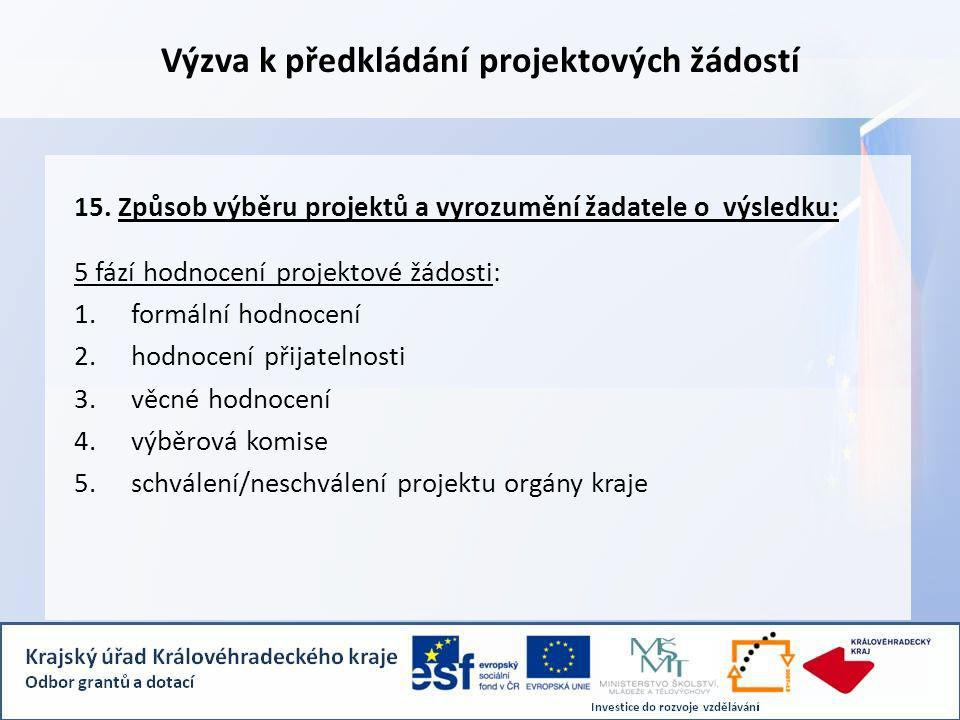Výzva k předkládání projektových žádostí 15.