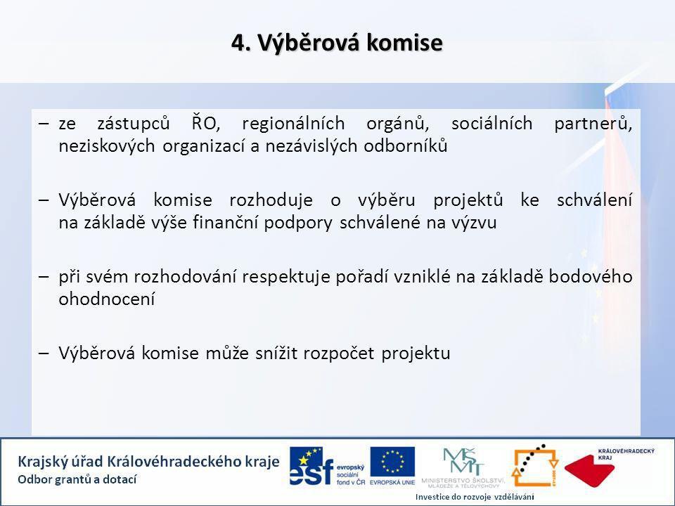 4. Výběrová komise –ze zástupců ŘO, regionálních orgánů, sociálních partnerů, neziskových organizací a nezávislých odborníků –Výběrová komise rozhoduj