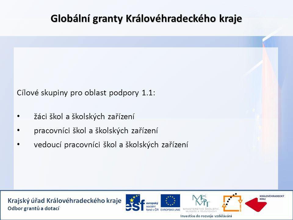 Globální granty Královéhradeckého kraje Cílové skupiny pro oblast podpory 1.1: žáci škol a školských zařízení pracovníci škol a školských zařízení vedoucí pracovníci škol a školských zařízení