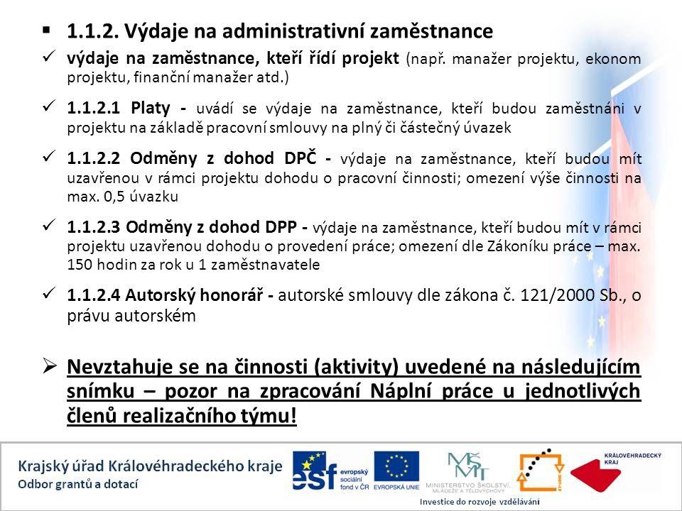  1.1.2. Výdaje na administrativní zaměstnance výdaje na zaměstnance, kteří řídí projekt (např.