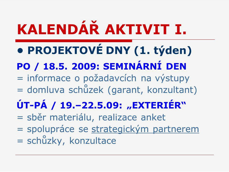 KALENDÁŘ AKTIVIT I. PROJEKTOVÉ DNY (1. týden) PO / 18.5.