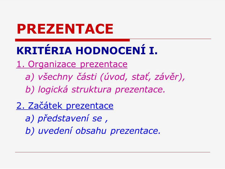 PREZENTACE KRITÉRIA HODNOCENÍ I. 1.