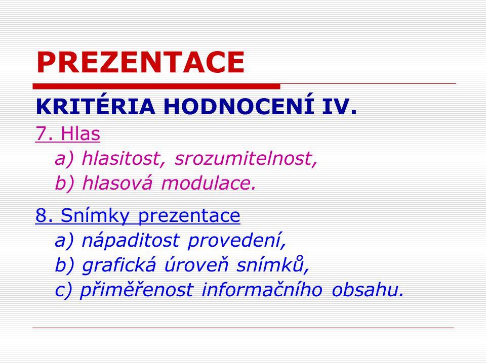 PREZENTACE KRITÉRIA HODNOCENÍ IV. 7. Hlas a) hlasitost, srozumitelnost, b) hlasová modulace.