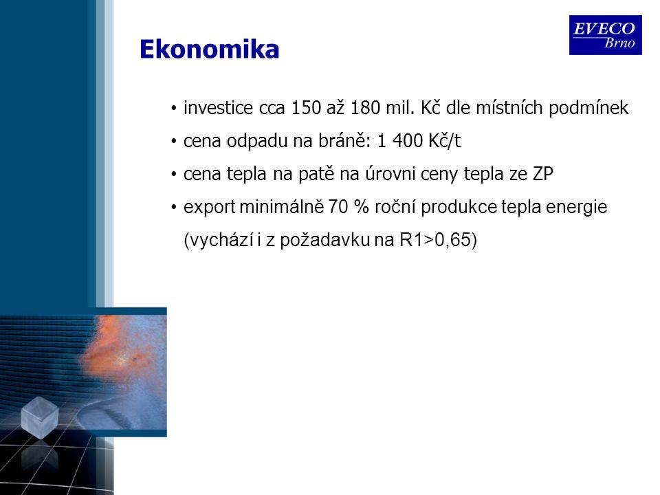 Ekonomika investice cca 150 až 180 mil. Kč dle místních podmínek cena odpadu na bráně: 1 400 Kč/t cena tepla na patě na úrovni ceny tepla ze ZP export