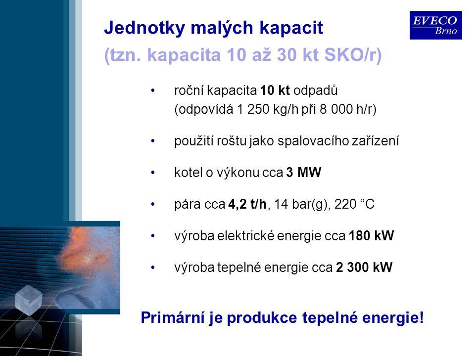 Jednotky malých kapacit roční kapacita 10 kt odpadů (odpovídá 1 250 kg/h při 8 000 h/r) použití roštu jako spalovacího zařízení kotel o výkonu cca 3 M