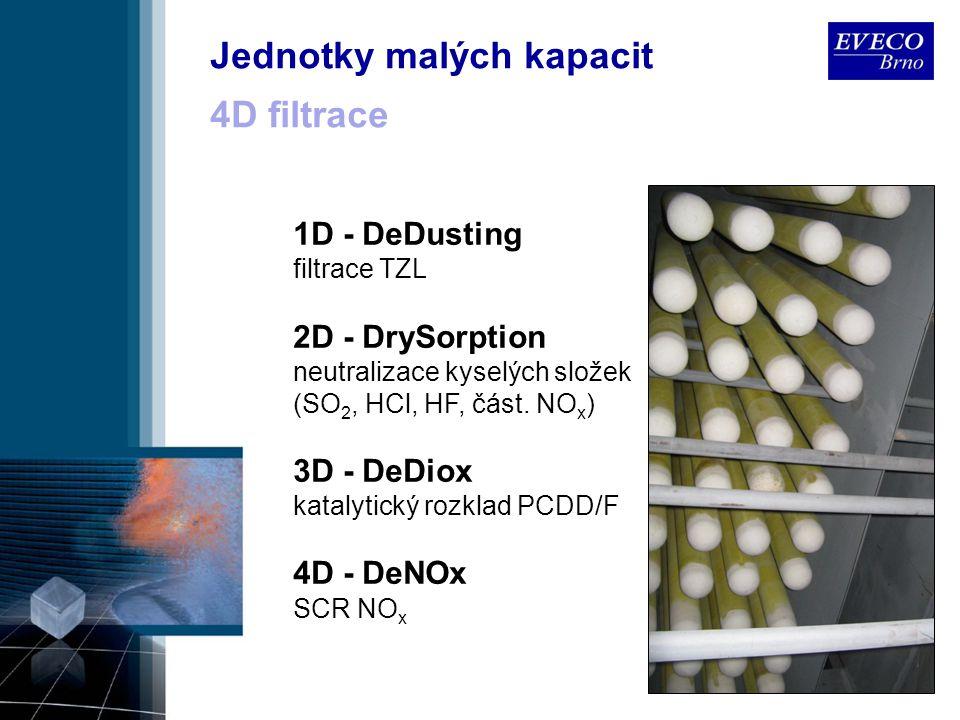 4D filtrace 1D - DeDusting filtrace TZL 2D - DrySorption neutralizace kyselých složek (SO 2, HCl, HF, část. NO x ) 3D - DeDiox katalytický rozklad PCD