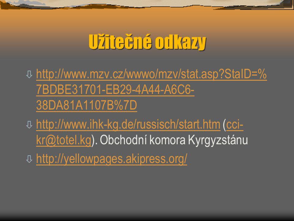 Užitečné odkazy ò http://www.mzv.cz/wwwo/mzv/stat.asp?StaID=% 7BDBE31701-EB29-4A44-A6C6- 38DA81A1107B%7D http://www.mzv.cz/wwwo/mzv/stat.asp?StaID=% 7