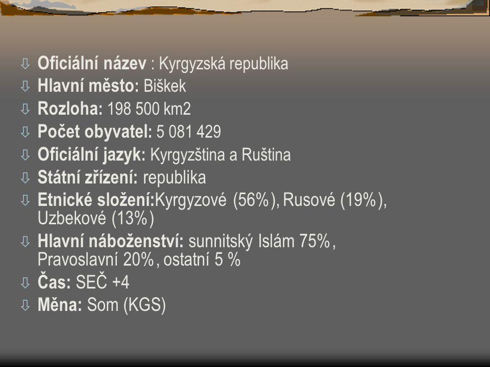 ò Oficiální název : Kyrgyzská republika ò Hlavní město : Biškek ò Rozloha : 198 500 km2 ò Počet obyvatel : 5 081 429 ò Oficiální jazyk : Kyrgyzština a