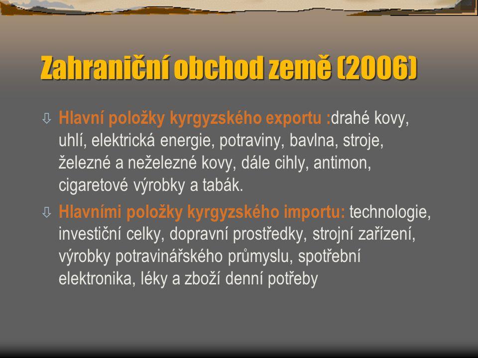 Zahraniční obchod země (2006) ò Hlavní položky kyrgyzského exportu : drahé kovy, uhlí, elektrická energie, potraviny, bavlna, stroje, železné a nežele