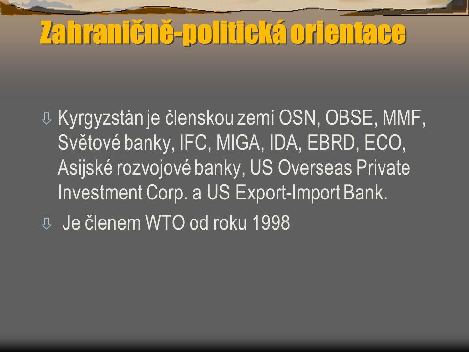 Zahraničně-politická orientace ò Kyrgyzstán je členskou zemí OSN, OBSE, MMF, Světové banky, IFC, MIGA, IDA, EBRD, ECO, Asijské rozvojové banky, US Ove