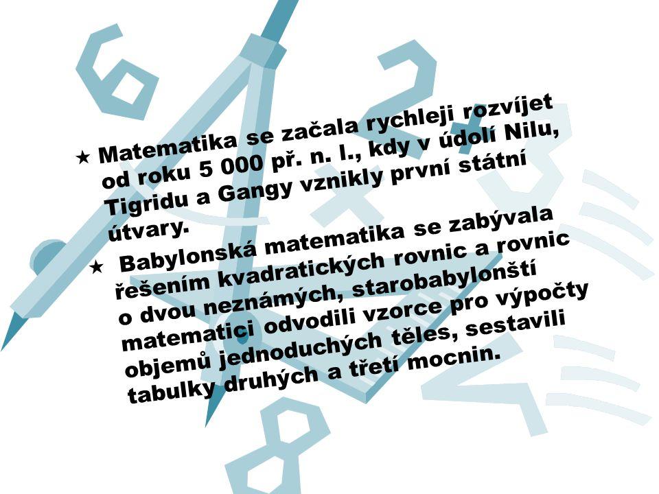  Nejvýznamnější vliv na rozvoj matematiky mělo starověké Řecko.