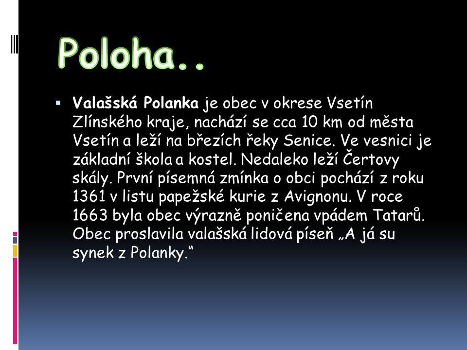  Obec Valašská Polanka je rozložena v údolí říčky Senice, asi 10 km od Vsetína a 30 km od krajského města Zlín.