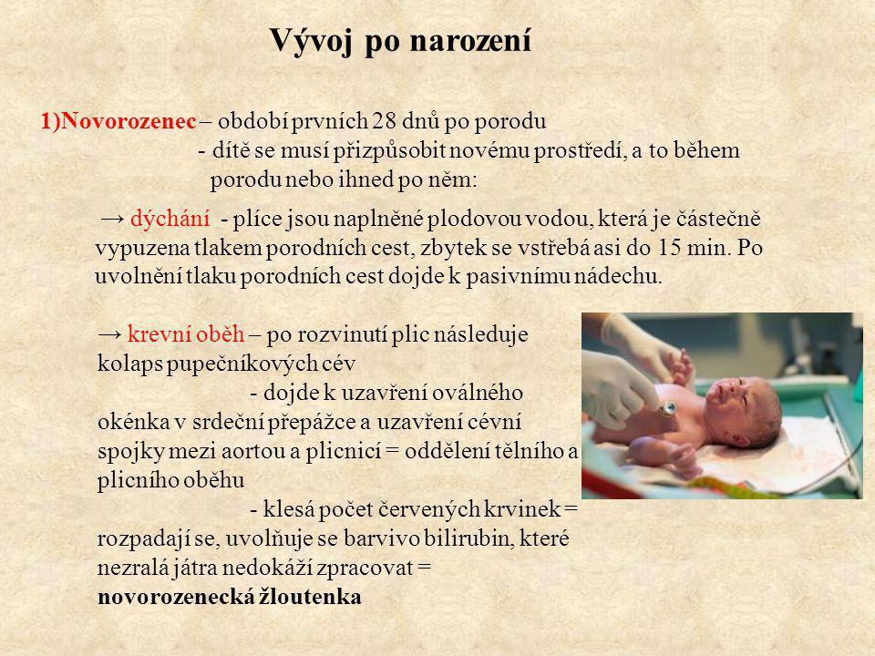 Vývoj po narození 1)Novorozenec – období prvních 28 dnů po porodu - dítě se musí přizpůsobit novému prostředí, a to během porodu nebo ihned po něm: → dýchání - plíce jsou naplněné plodovou vodou, která je částečně vypuzena tlakem porodních cest, zbytek se vstřebá asi do 15 min.