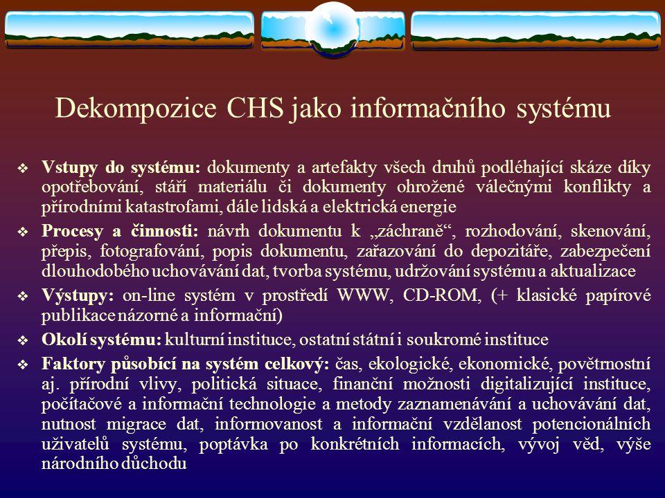 Dekompozice CHS jako informačního systému  Vstupy do systému: dokumenty a artefakty všech druhů podléhající skáze díky opotřebování, stáří materiálu