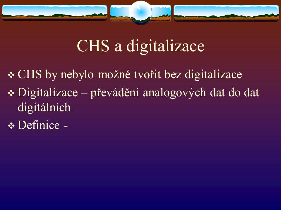 CHS a digitalizace  CHS by nebylo možné tvořit bez digitalizace  Digitalizace – převádění analogových dat do dat digitálních  Definice -