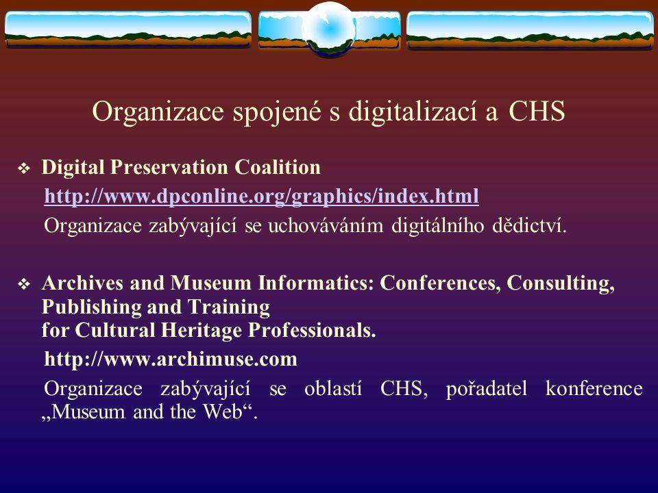 Organizace spojené s digitalizací a CHS  Digital Preservation Coalition http://www.dpconline.org/graphics/index.html Organizace zabývající se uchováv