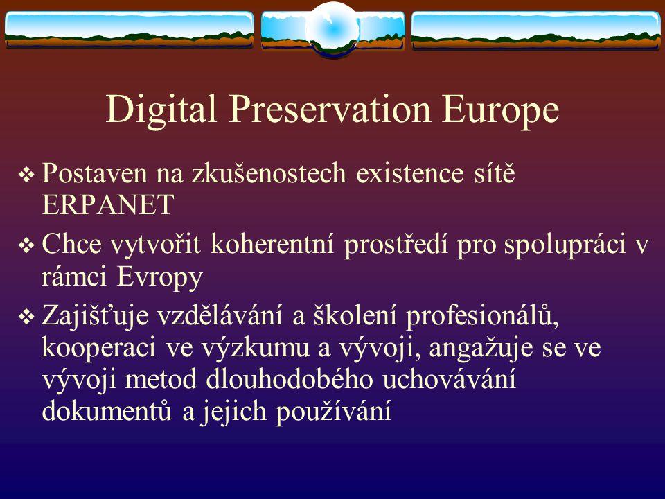 Digital Preservation Europe  Postaven na zkušenostech existence sítě ERPANET  Chce vytvořit koherentní prostředí pro spolupráci v rámci Evropy  Zaj