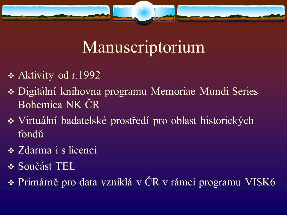 Manuscriptorium  Aktivity od r.1992  Digitální knihovna programu Memoriae Mundi Series Bohemica NK ČR  Virtuální badatelské prostředí pro oblast hi