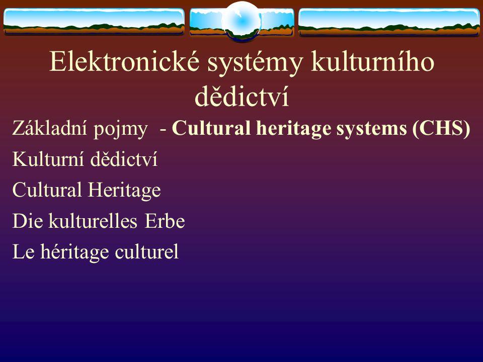 Elektronické systémy kulturního dědictví Základní pojmy - Cultural heritage systems (CHS) Kulturní dědictví Cultural Heritage Die kulturelles Erbe Le