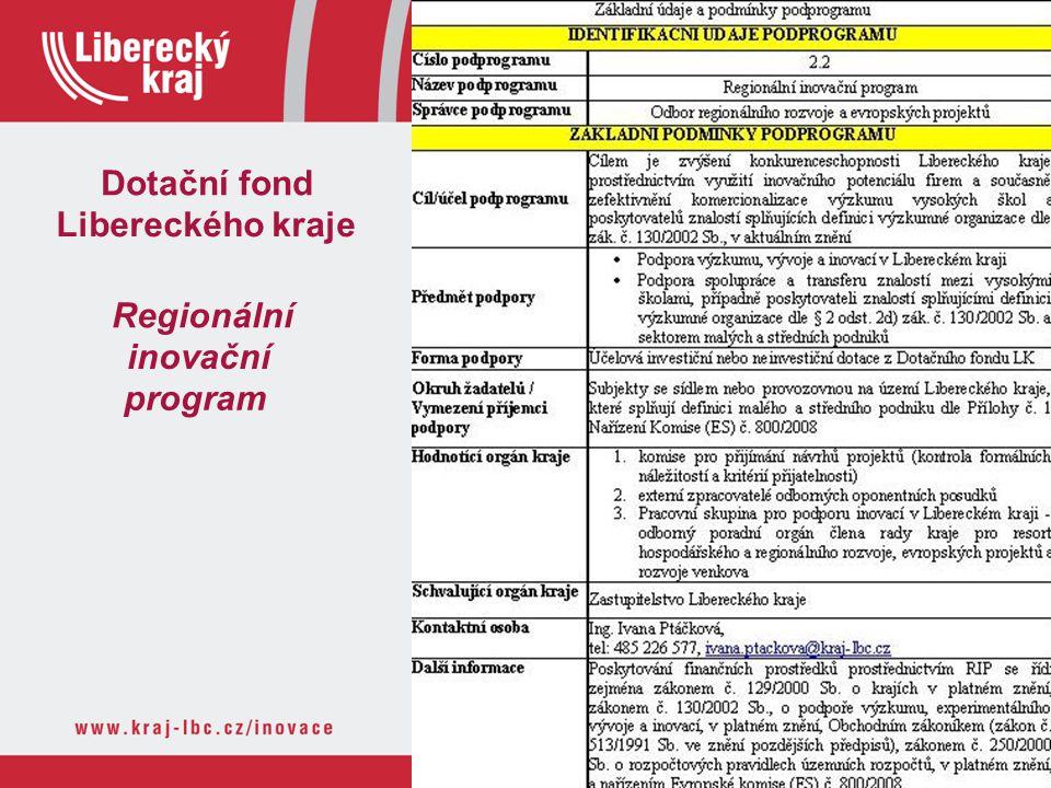 Dotační fond Libereckého kraje Regionální inovační program