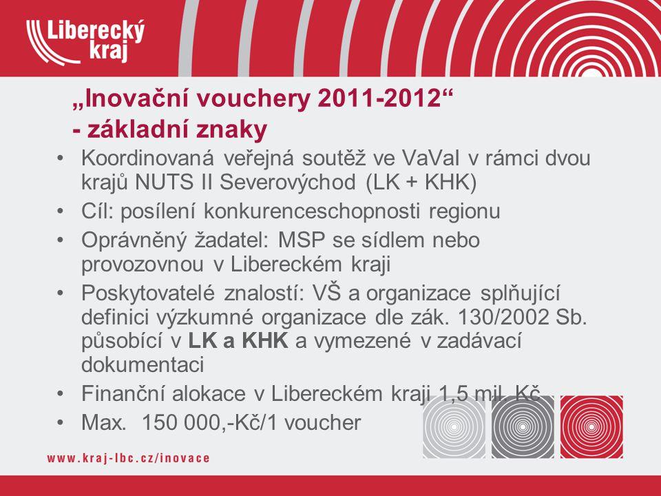 """""""Inovační vouchery 2011-2012 - základní znaky Koordinovaná veřejná soutěž ve VaVaI v rámci dvou krajů NUTS II Severovýchod (LK + KHK) Cíl: posílení konkurenceschopnosti regionu Oprávněný žadatel: MSP se sídlem nebo provozovnou v Libereckém kraji Poskytovatelé znalostí: VŠ a organizace splňující definici výzkumné organizace dle zák."""