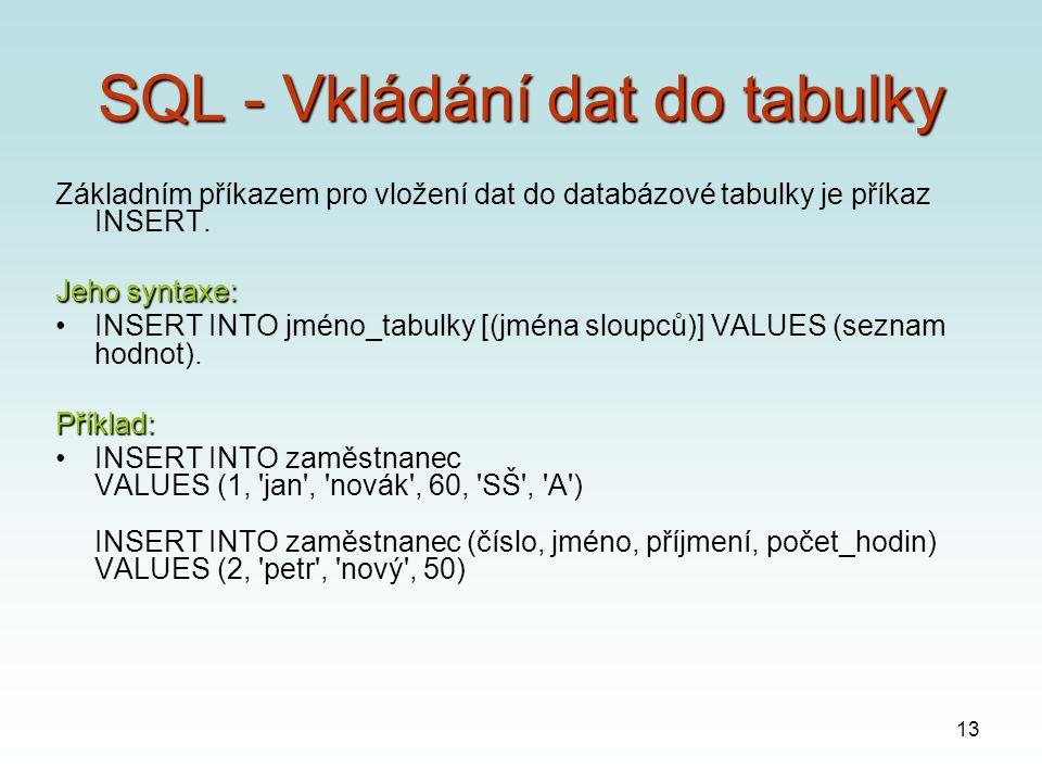 13 SQL - Vkládání dat do tabulky Základním příkazem pro vložení dat do databázové tabulky je příkaz INSERT.