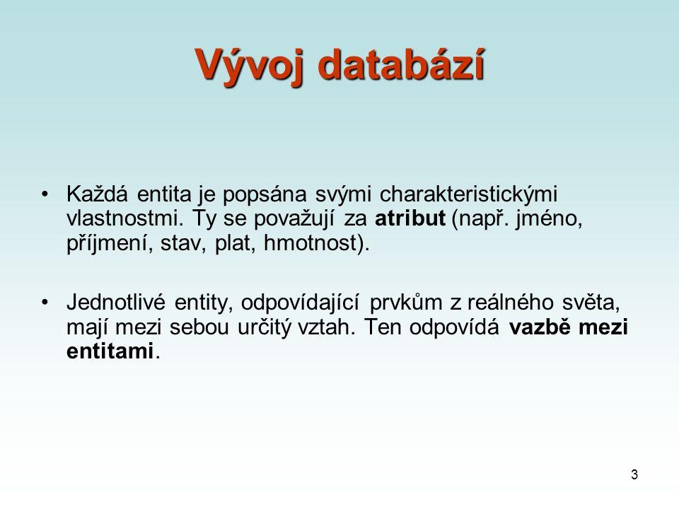 3 Vývoj databází Každá entita je popsána svými charakteristickými vlastnostmi.