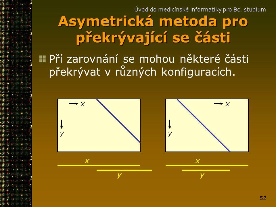 Úvod do medicínské informatiky pro Bc. studium 52 Asymetrická metoda pro překrývající se části Pří zarovnání se mohou některé části překrývat v různýc