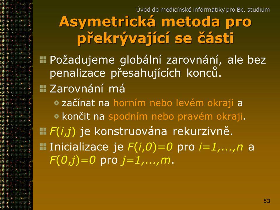 Úvod do medicínské informatiky pro Bc. studium 53 Asymetrická metoda pro překrývající se části Požadujeme globální zarovnání, ale bez penalizace přesa