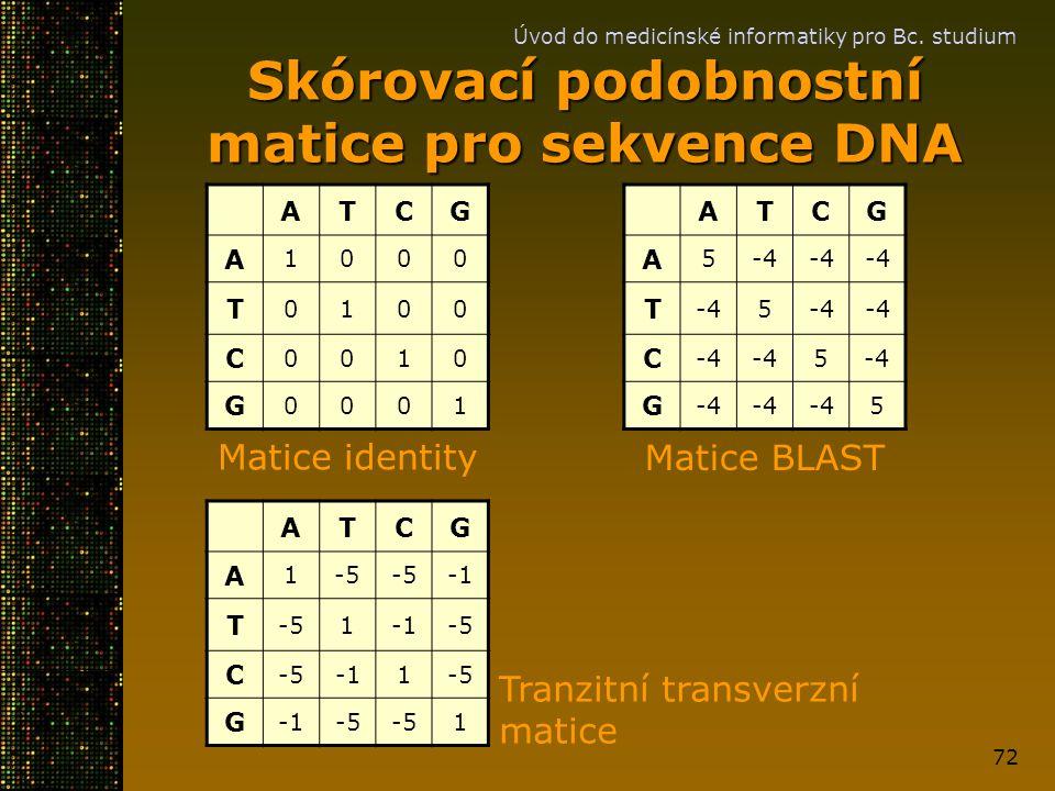 Úvod do medicínské informatiky pro Bc. studium 72 Skórovací podobnostní matice pro sekvence DNA ATCG A 1000 T 0100 C 0010 G 0001 ATCG A 5-4 T 5 C 5 G