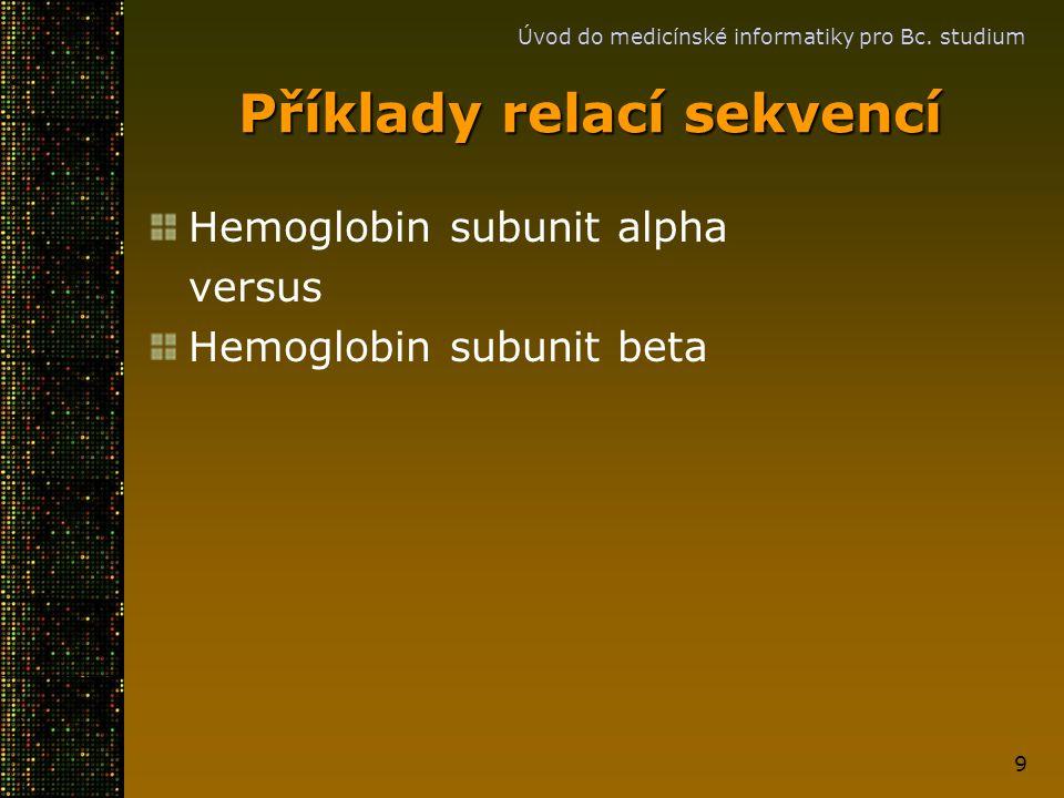 Úvod do medicínské informatiky pro Bc. studium 9 Příklady relací sekvencí Hemoglobin subunit alpha versus Hemoglobin subunit beta
