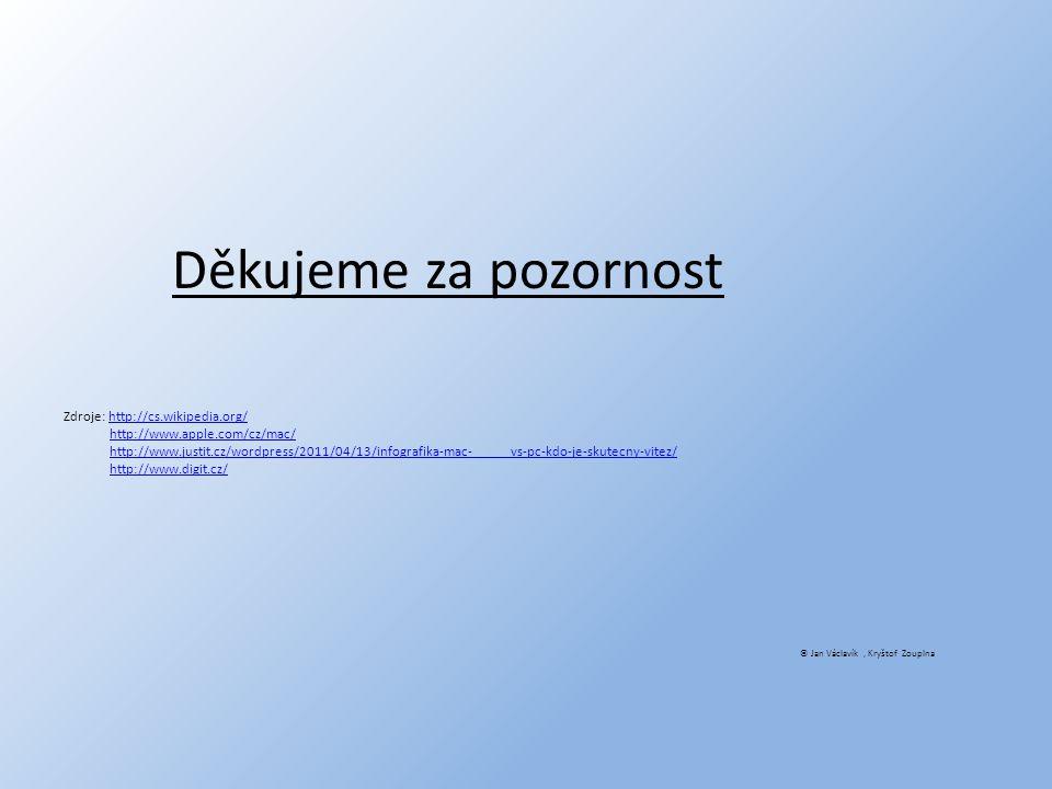 Děkujeme za pozornost Zdroje: http://cs.wikipedia.org/http://cs.wikipedia.org/ http://www.apple.com/cz/mac/ http://www.justit.cz/wordpress/2011/04/13/infografika-mac- vs-pc-kdo-je-skutecny-vitez/ http://www.digit.cz/ © Jan Václavík, Kryštof Zouplna