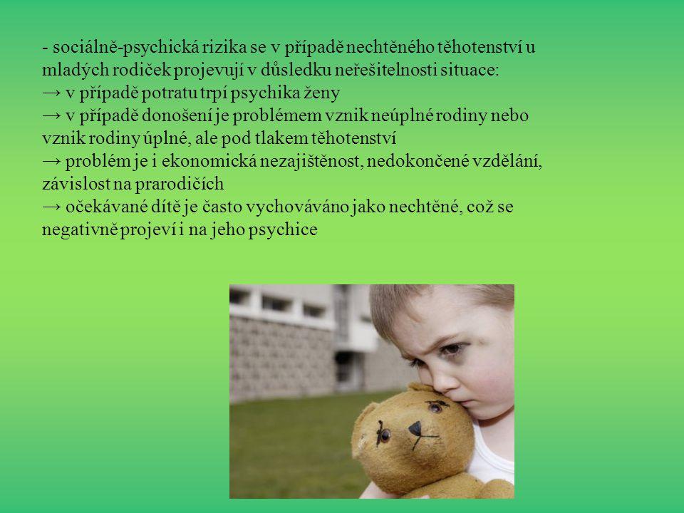 - sociálně-psychická rizika se v případě nechtěného těhotenství u mladých rodiček projevují v důsledku neřešitelnosti situace: → v případě potratu trp