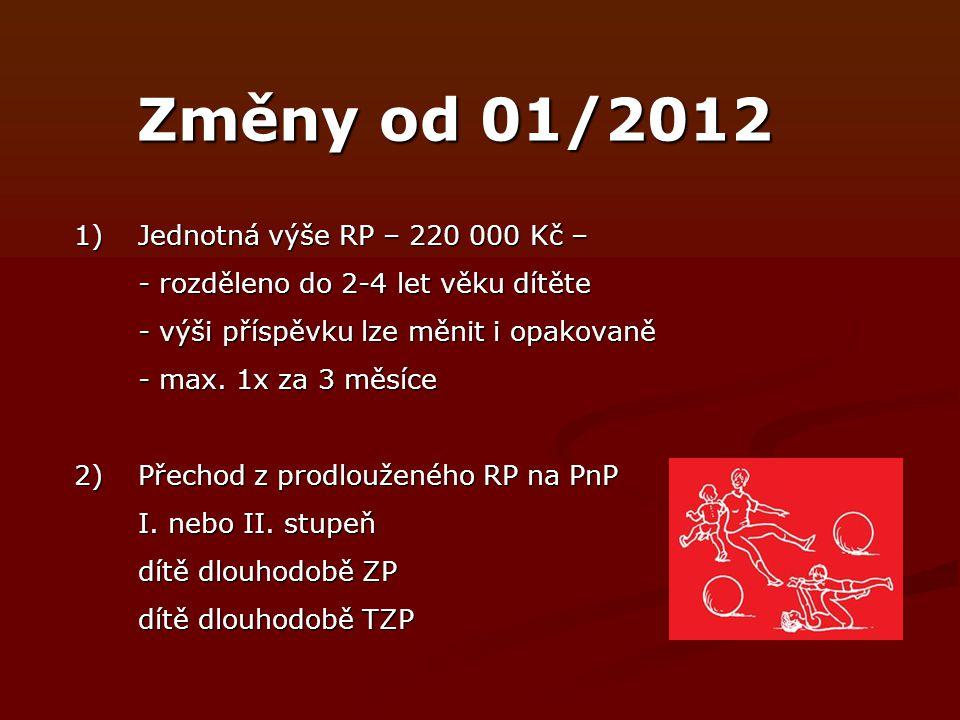 Změny od 01/2012 1)Jednotná výše RP – 220 000 Kč – - rozděleno do 2-4 let věku dítěte - výši příspěvku lze měnit i opakovaně - max.