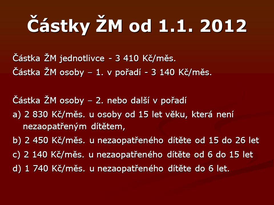 Částky ŽM od 1.1.2012 Částka ŽM jednotlivce - 3 410 Kč/měs.