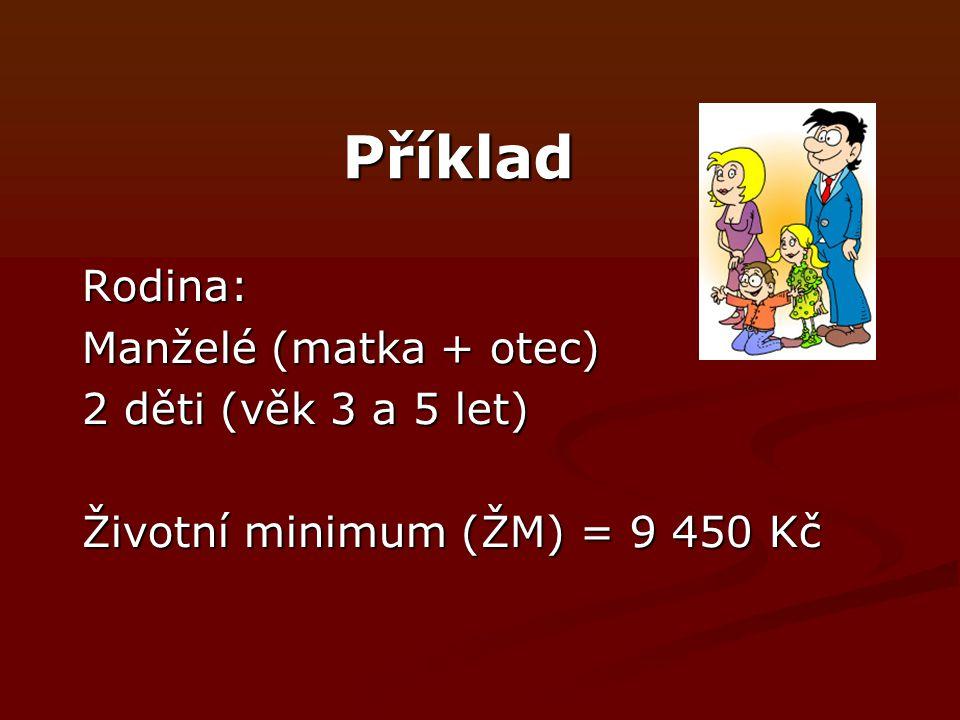 Příklad Rodina: Manželé (matka + otec) 2 děti (věk 3 a 5 let) Životní minimum (ŽM) = 9 450 Kč