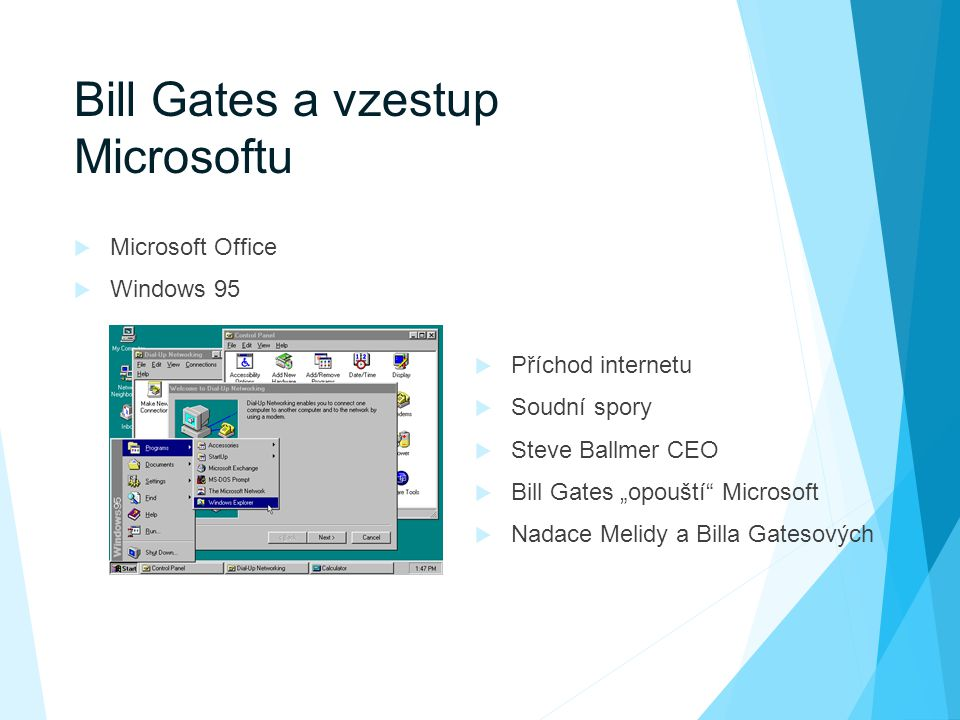 "Bill Gates a vzestup Microsoftu  Microsoft Office  Windows 95  Příchod internetu  Soudní spory  Steve Ballmer CEO  Bill Gates ""opouští"" Microsof"