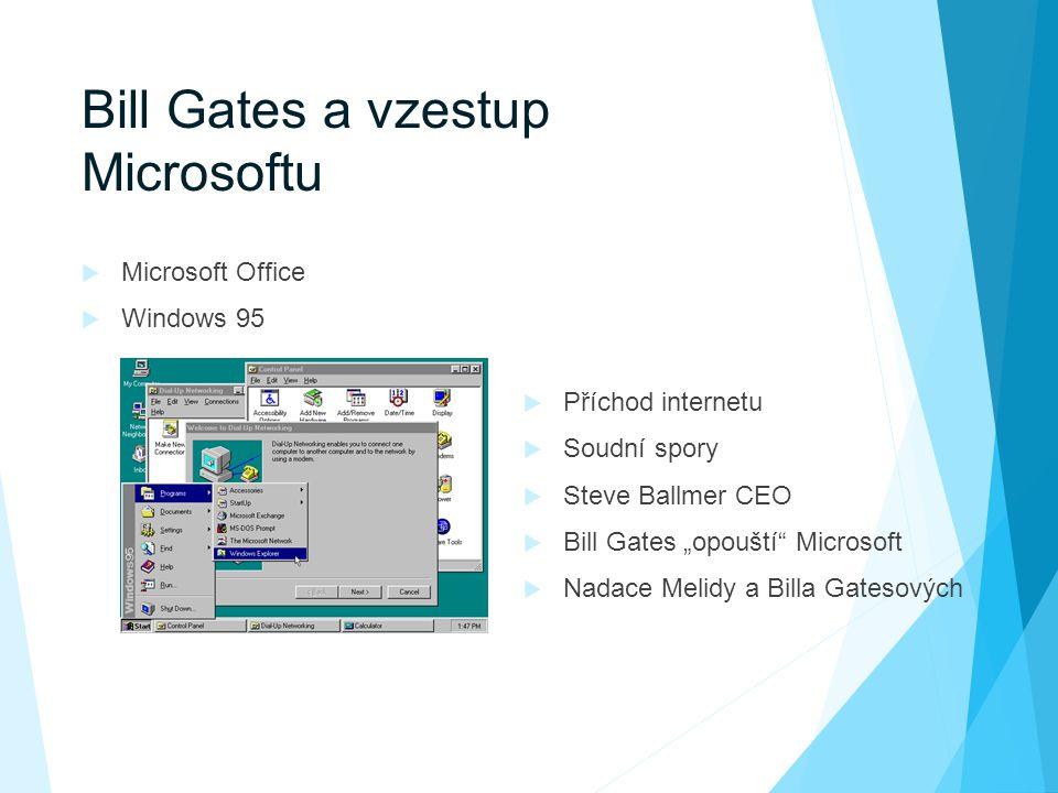 """Bill Gates a vzestup Microsoftu  Microsoft Office  Windows 95  Příchod internetu  Soudní spory  Steve Ballmer CEO  Bill Gates """"opouští Microsoft  Nadace Melidy a Billa Gatesových"""