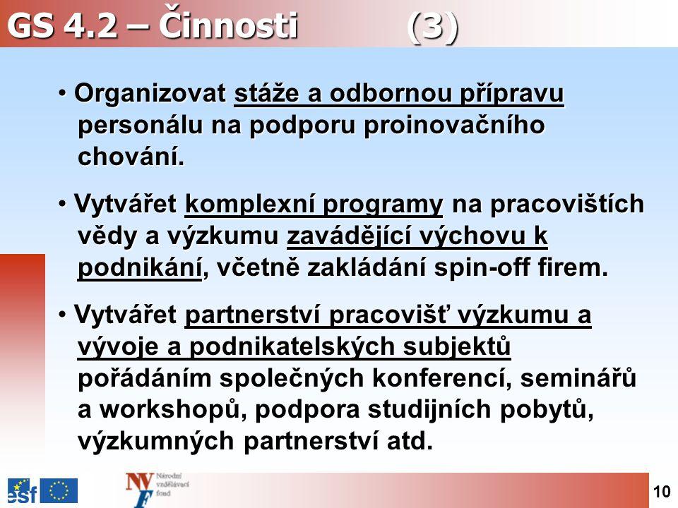 10 GS 4.2 – Činnosti (3) Organizovat stáže a odbornou přípravu personálu na podporu proinovačního chování.