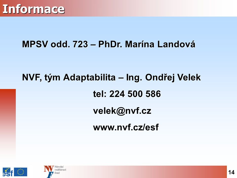 14Informace MPSV odd. 723 – PhDr. Marína Landová NVF, tým Adaptabilita – Ing.