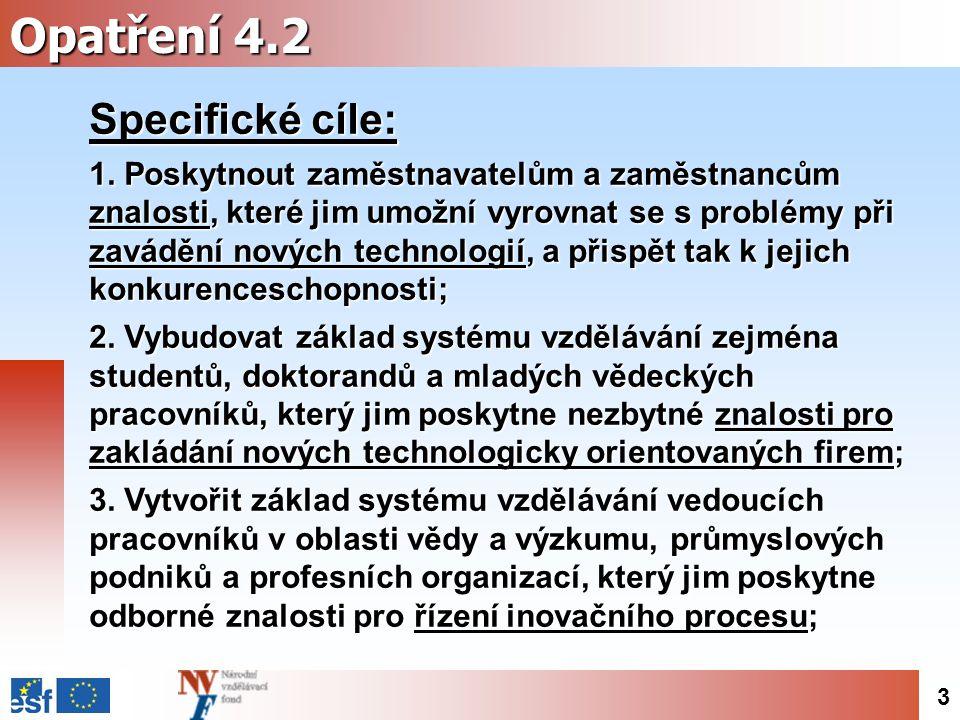 3 Opatření 4.2 Specifické cíle: 1.
