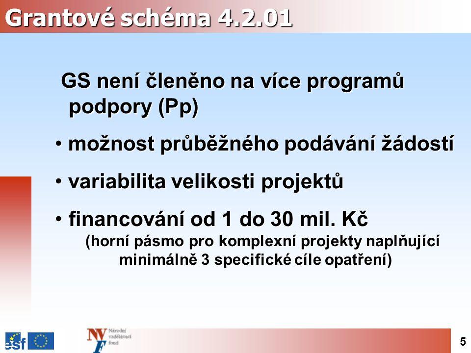 5 Grantové schéma 4.2.01 GS není členěno na více programů podpory (Pp) možnost průběžného podávání žádostí možnost průběžného podávání žádostí variabilita velikosti projektů variabilita velikosti projektů financování od 1 do 30 mil.