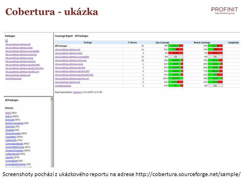 Cobertura - ukázka Screenshoty pochází z ukázkového reportu na adrese http://cobertura.sourceforge.net/sample/