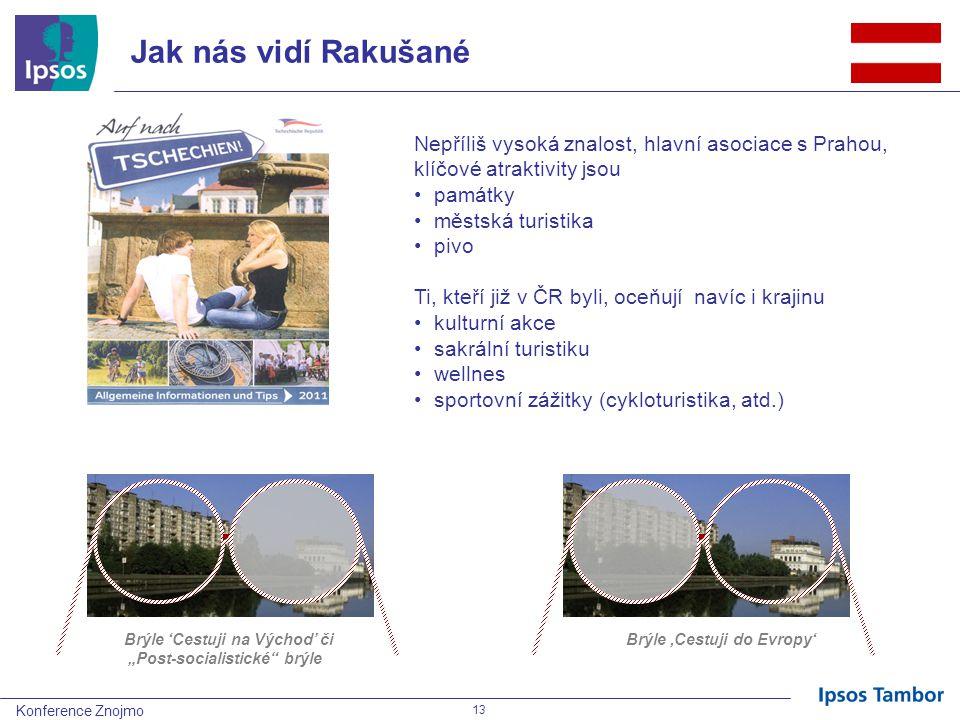 """Konference Znojmo 13 Jak nás vidí Rakušané Nepříliš vysoká znalost, hlavní asociace s Prahou, klíčové atraktivity jsou památky městská turistika pivo Ti, kteří již v ČR byli, oceňují navíc i krajinu kulturní akce sakrální turistiku wellnes sportovní zážitky (cykloturistika, atd.) Brýle 'Cestuji na Východ' či """"Post-socialistické brýle Brýle 'Cestuji do Evropy'"""