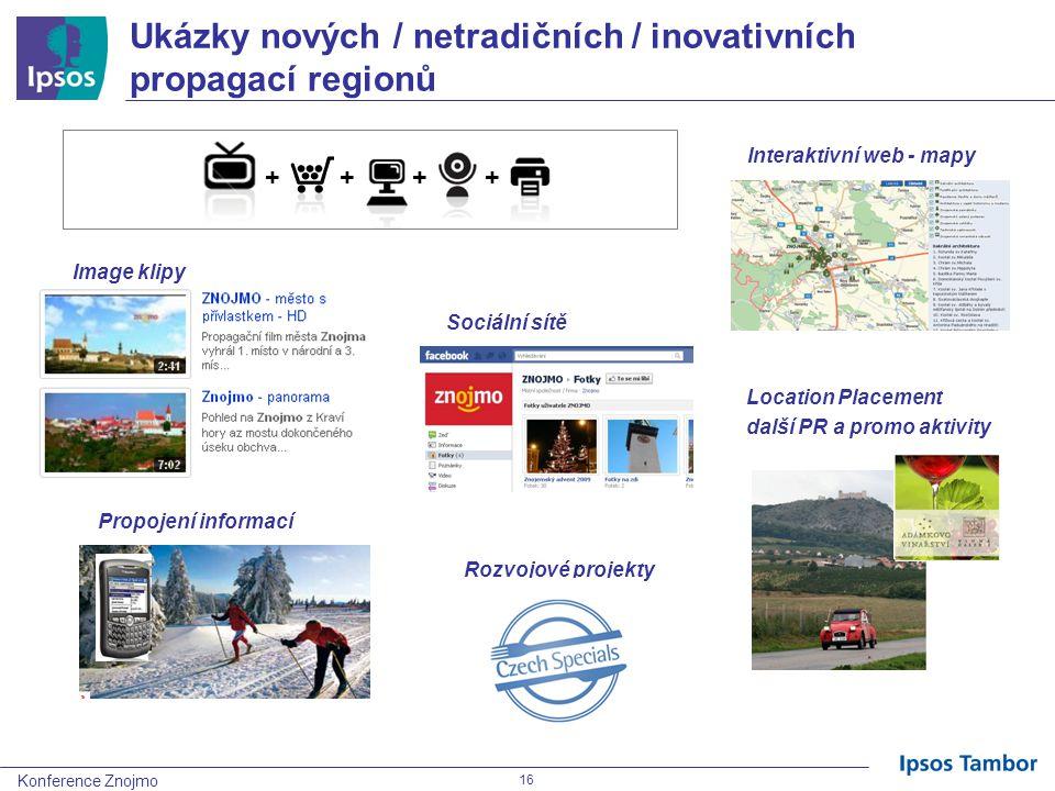 Konference Znojmo 16 Ukázky nových / netradičních / inovativních propagací regionů Location Placement další PR a promo aktivity Interaktivní web - mapy Sociální sítě Propojení informací Image klipy Rozvojové projekty + +++