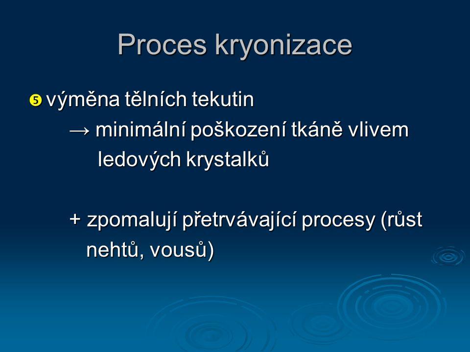 Proces kryonizace  výměna tělních tekutin → minimální poškození tkáně vlivem → minimální poškození tkáně vlivem ledových krystalků ledových krystalků