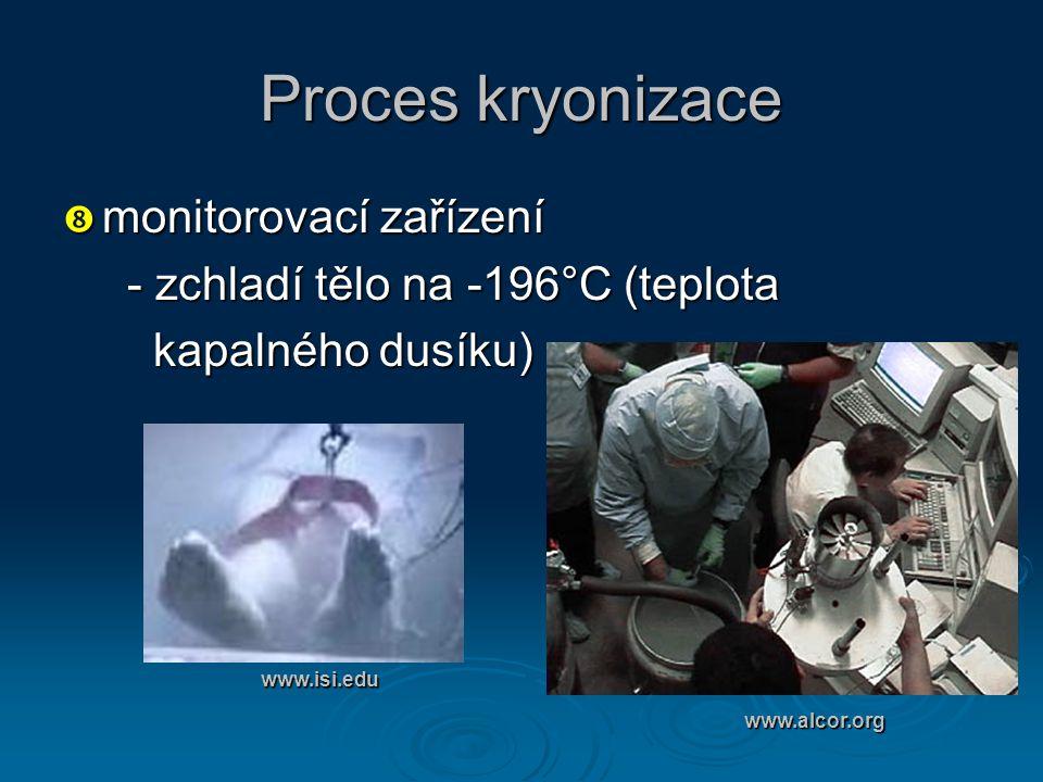 Proces kryonizace  monitorovací zařízení - zchladí tělo na -196°C (teplota - zchladí tělo na -196°C (teplota kapalného dusíku) kapalného dusíku) www.
